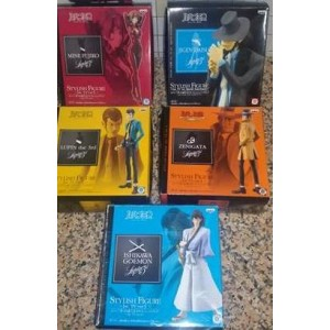 Banpresto Lupin III Stylish Tv Version PVC Figure Serie Completa: Lupin, Gaemon, Jigen, Fujiko, Zenigata(Scatole Aperte)