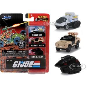 Jada Model Car GI Joe Nano Ride 3-Pack Snow Cat/V.A.M.P MK-II/ H.I.S.S Tank