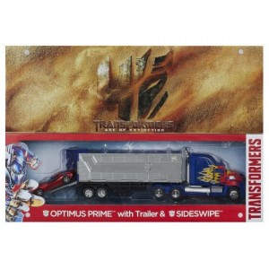 Hasbro AOE Optimus Prime Leader Class With Trailer & Sideswipe DX Platinum Edition